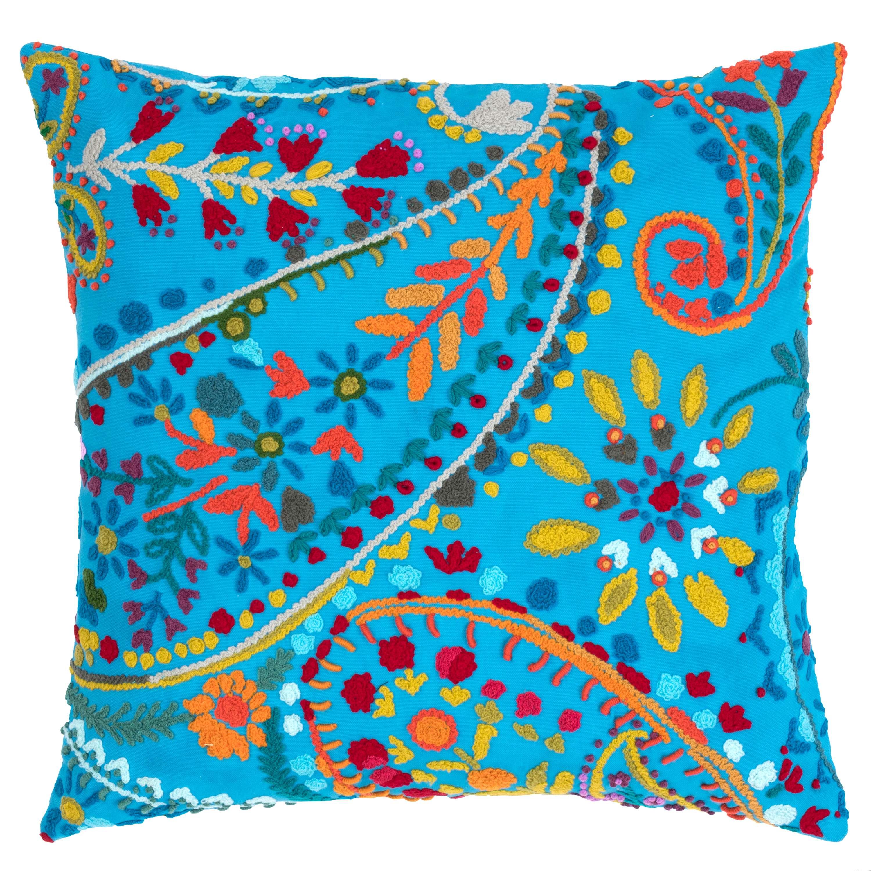 Decorative Pillows Outlet : Amelie Turquoise Embroidered Decorative Pillow The Outlet