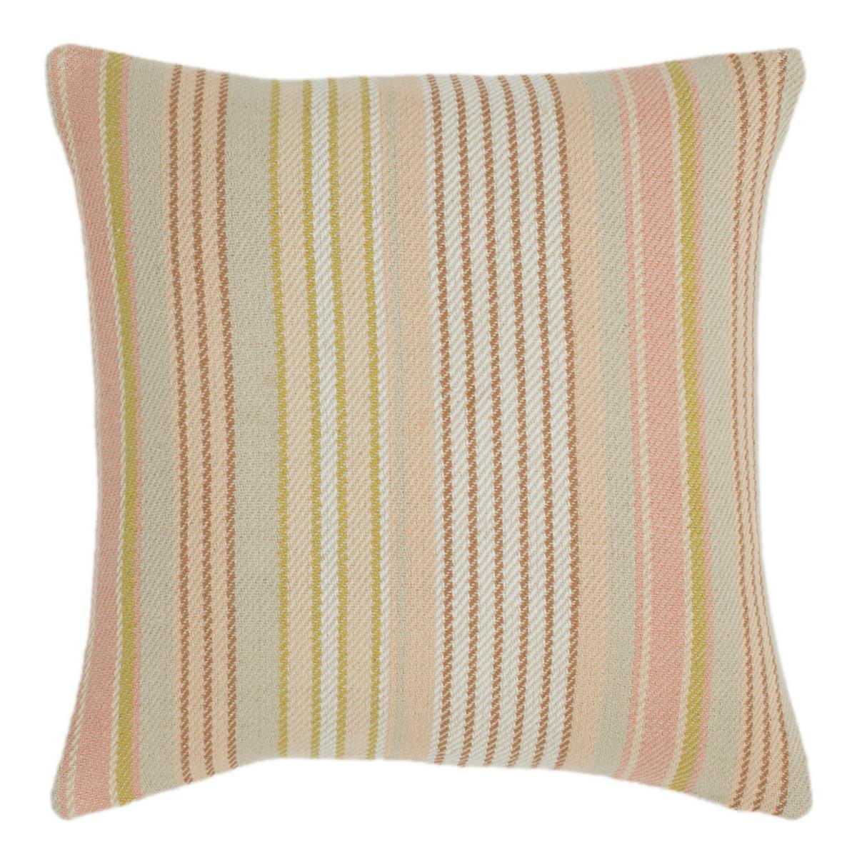 Ana Aqua Ticking Woven Cotton Decorative Pillow