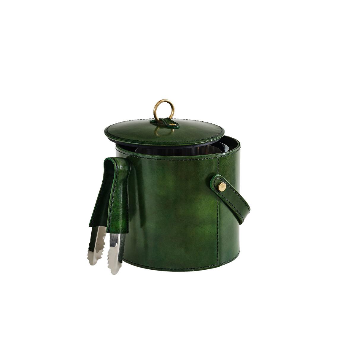 Arthur Leather Evergreen Ice Bucket