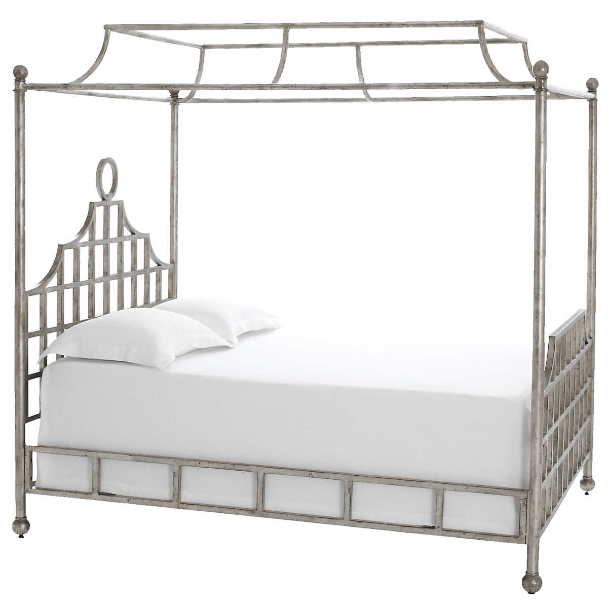 Atlas Canopy Metal Bed Silver Finish Furniture