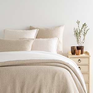 Pick Stitch Natural Matelasse Coverlet