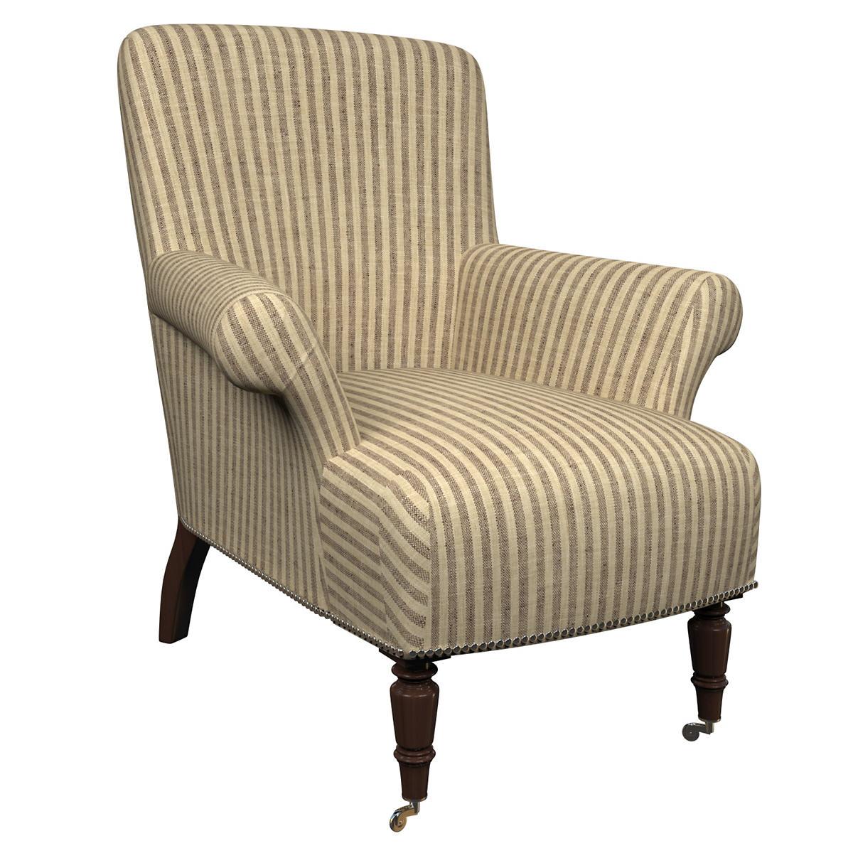 Adams Ticking Brown Barrington Chair
