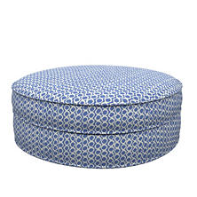 Beads Blue Palm Court Ottoman