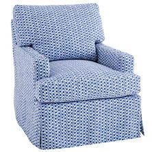 Beads Blue Saybrook Slipcovered Chair