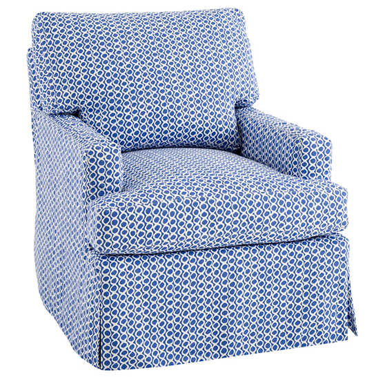 Beads Blue Saybrook Slipcovered Chair