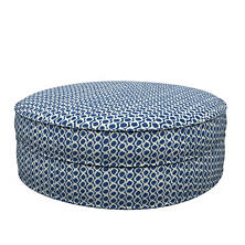 Beads Navy Palm Court Ottoman