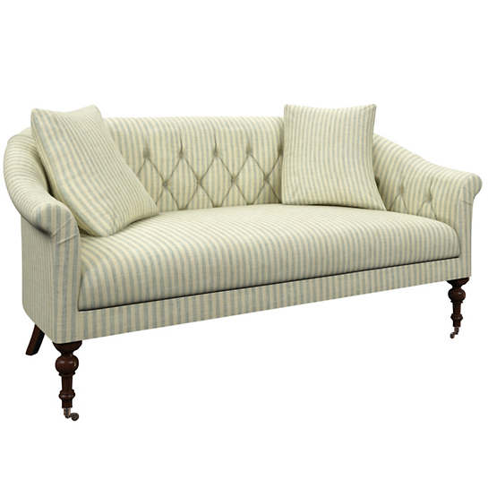 Adams Ticking Light Blue Becket Loveseat
