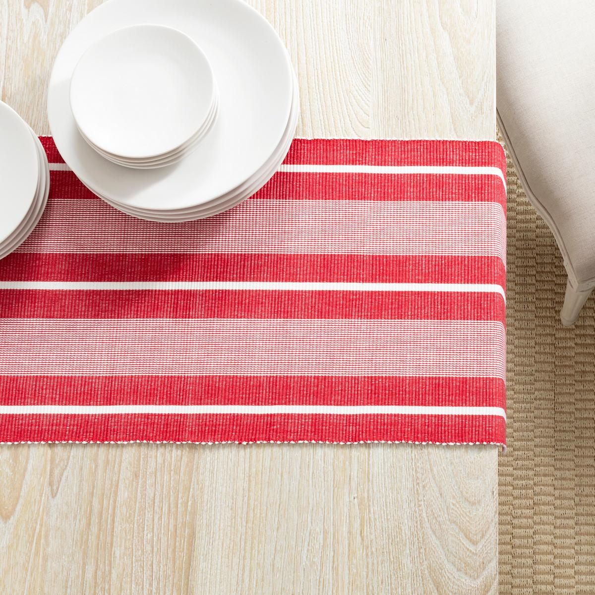 Berkeley Stripe Red Table Runner