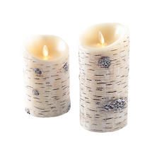 Painted Birch Flameless Pillar Candle