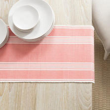 Bistro Stripe Coral Table Runner