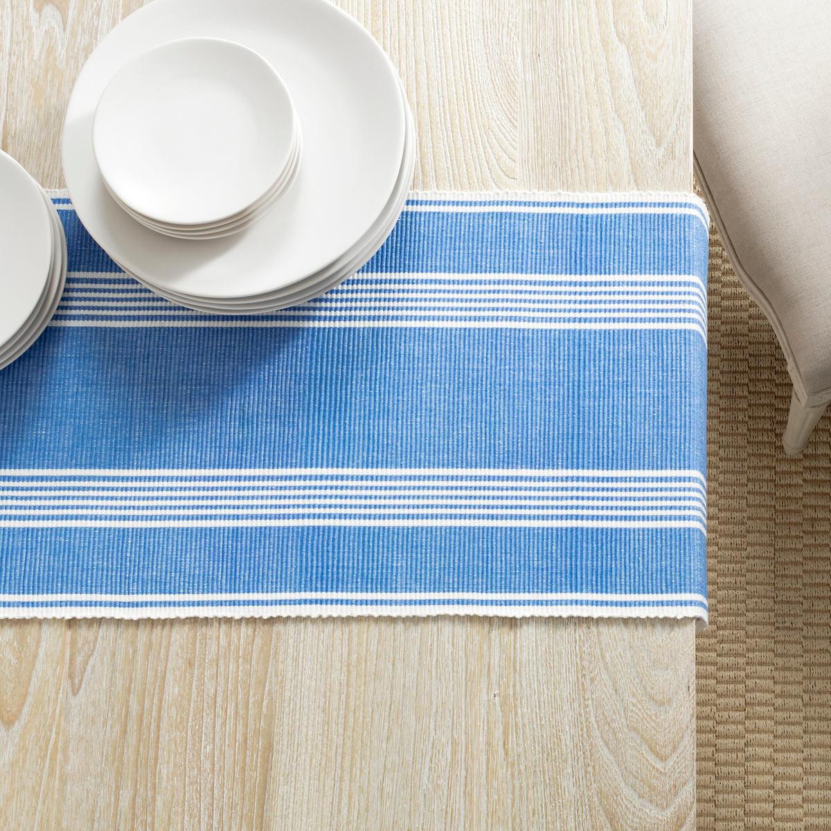 Bistro Stripe French Blue Table Runner