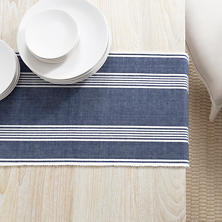 Bistro Stripe Indigo Table Runner