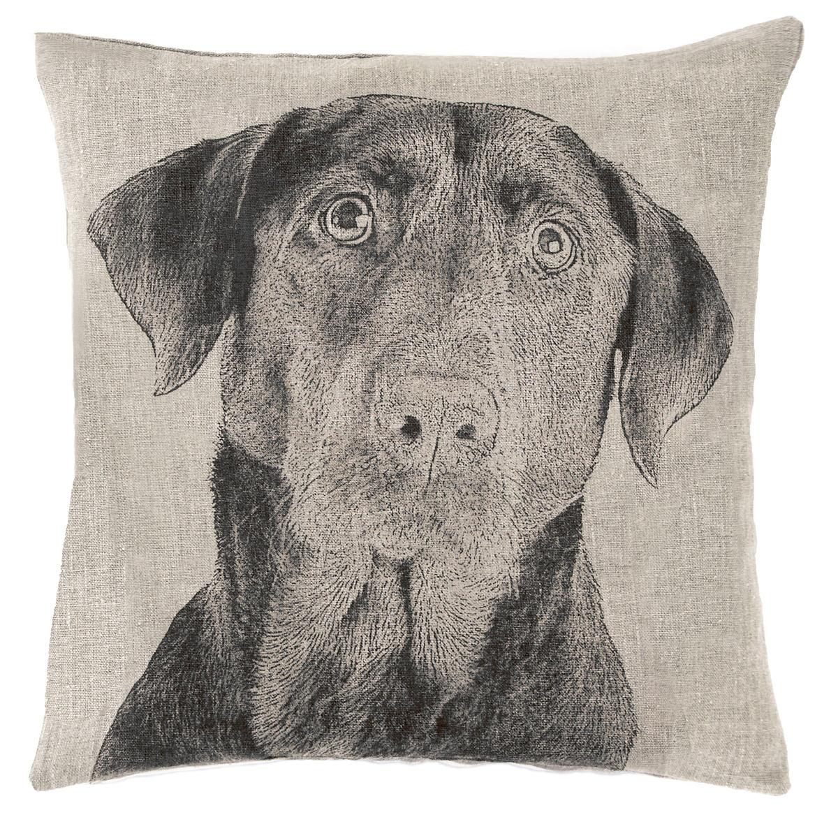 Black Lab Natural Decorative Pillow