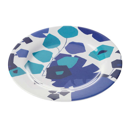 Block Floral Blue Melamine Salad Plate/Set Of 4