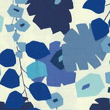 Block Floral Blue Fabric
