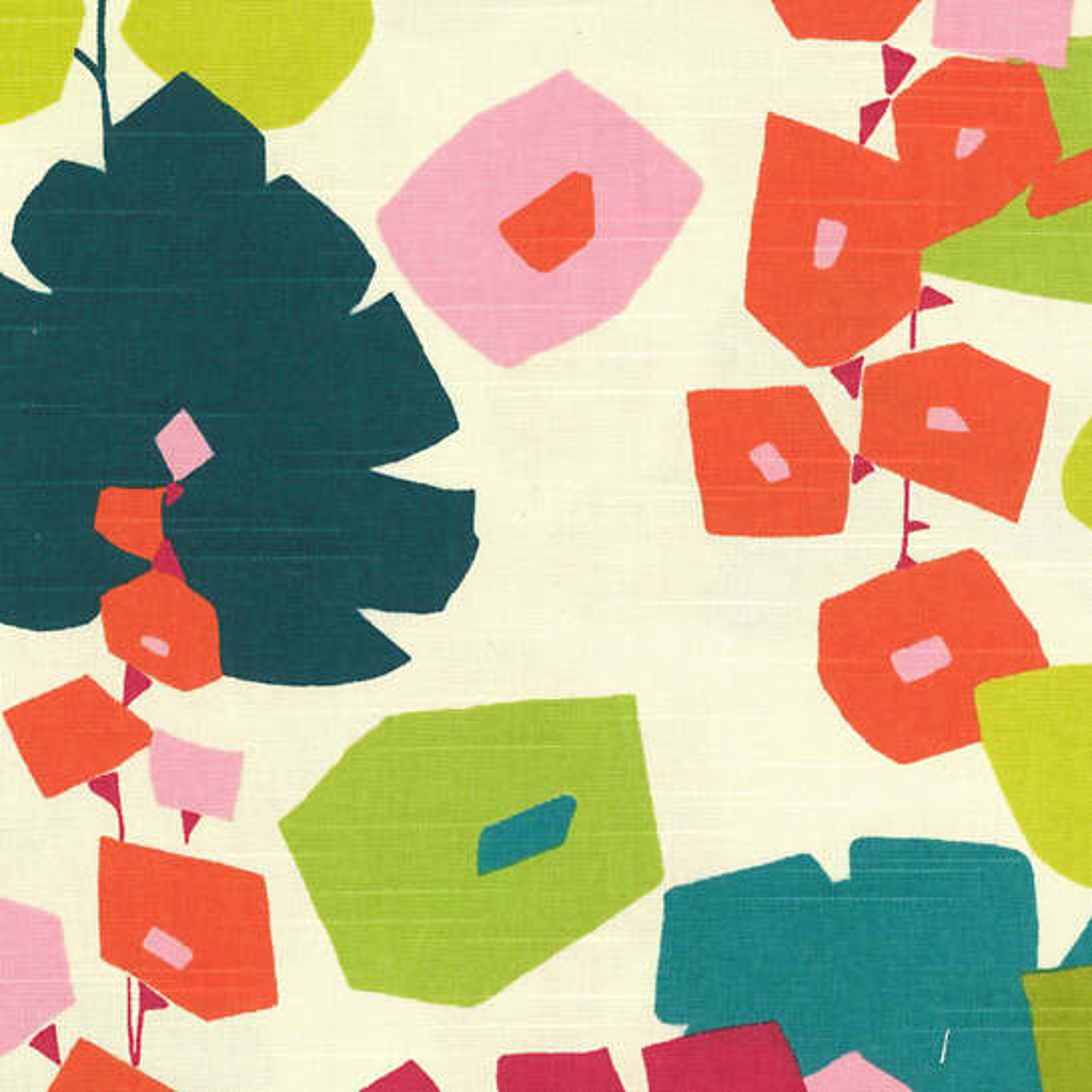 Block Floral Bright Fabric