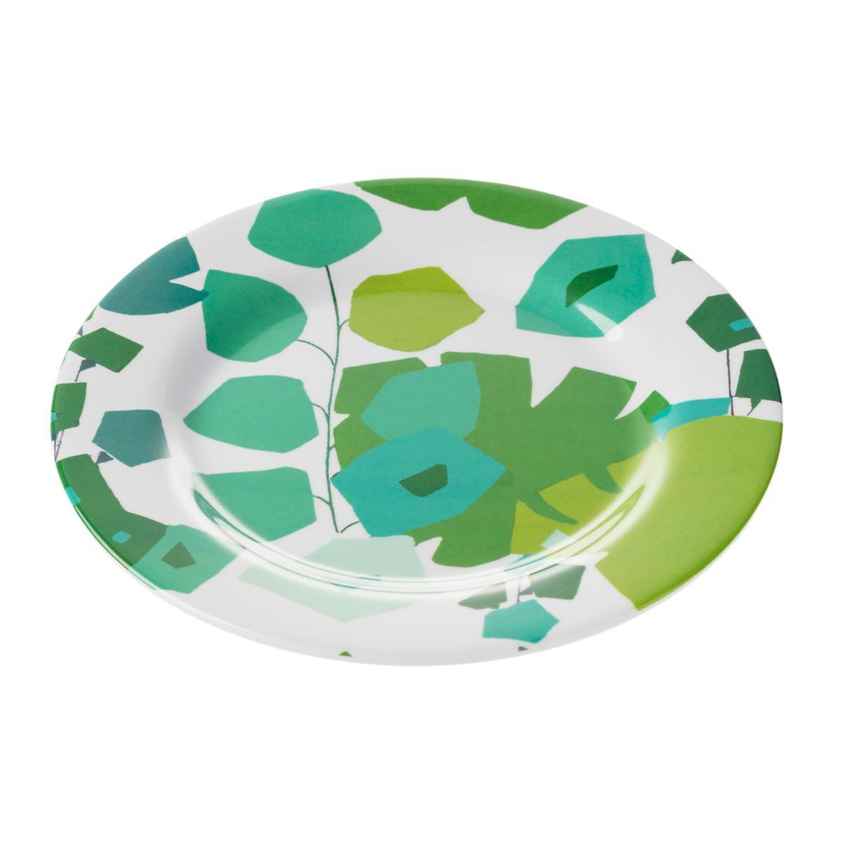 Block Floral Green Melamine Salad Plate/Set Of 4