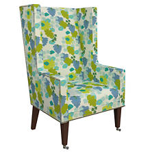 Block Floral Green Neo-Wing Chair