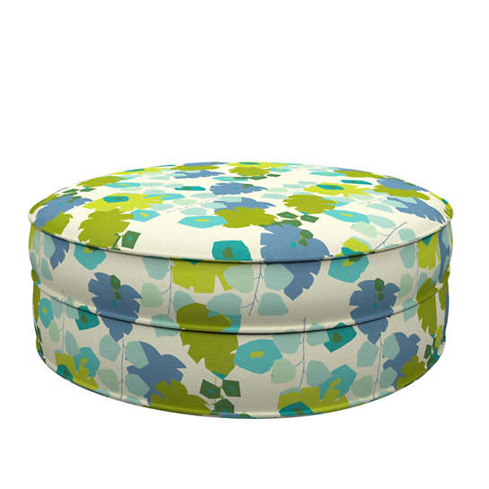 Block Floral Green Palm Court Ottoman