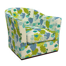 Block Floral Green Thunderbird Swivel Chair