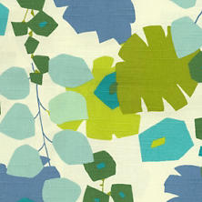 Block Floral Green Fabric