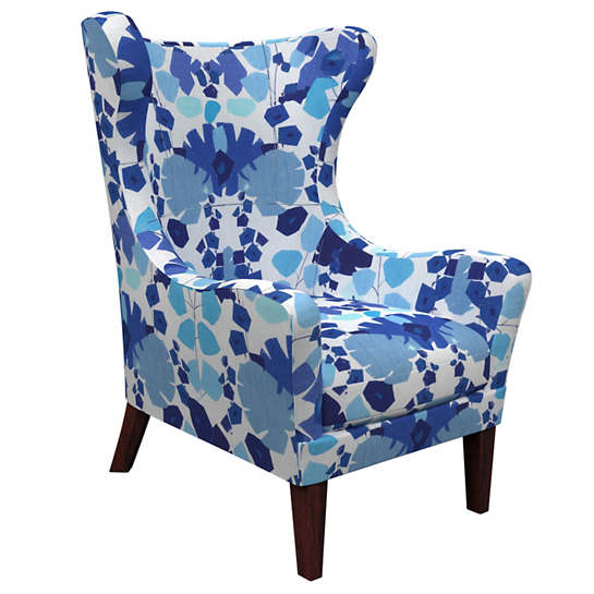 Block Floral Blue Mirage Tobacco Chair