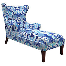 Block Floral Blue Mirage Tobacco Chaise