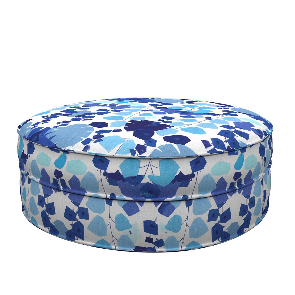 Block Floral Linen Blue Palm Court Ottoman