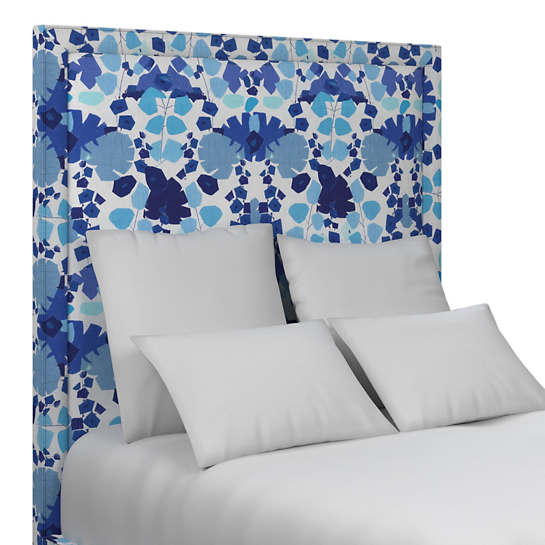 Block Floral Blue Stonington Headboard