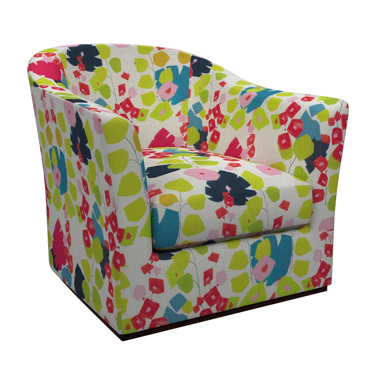 Block Floral Bright Thunderbird Swivel Chair