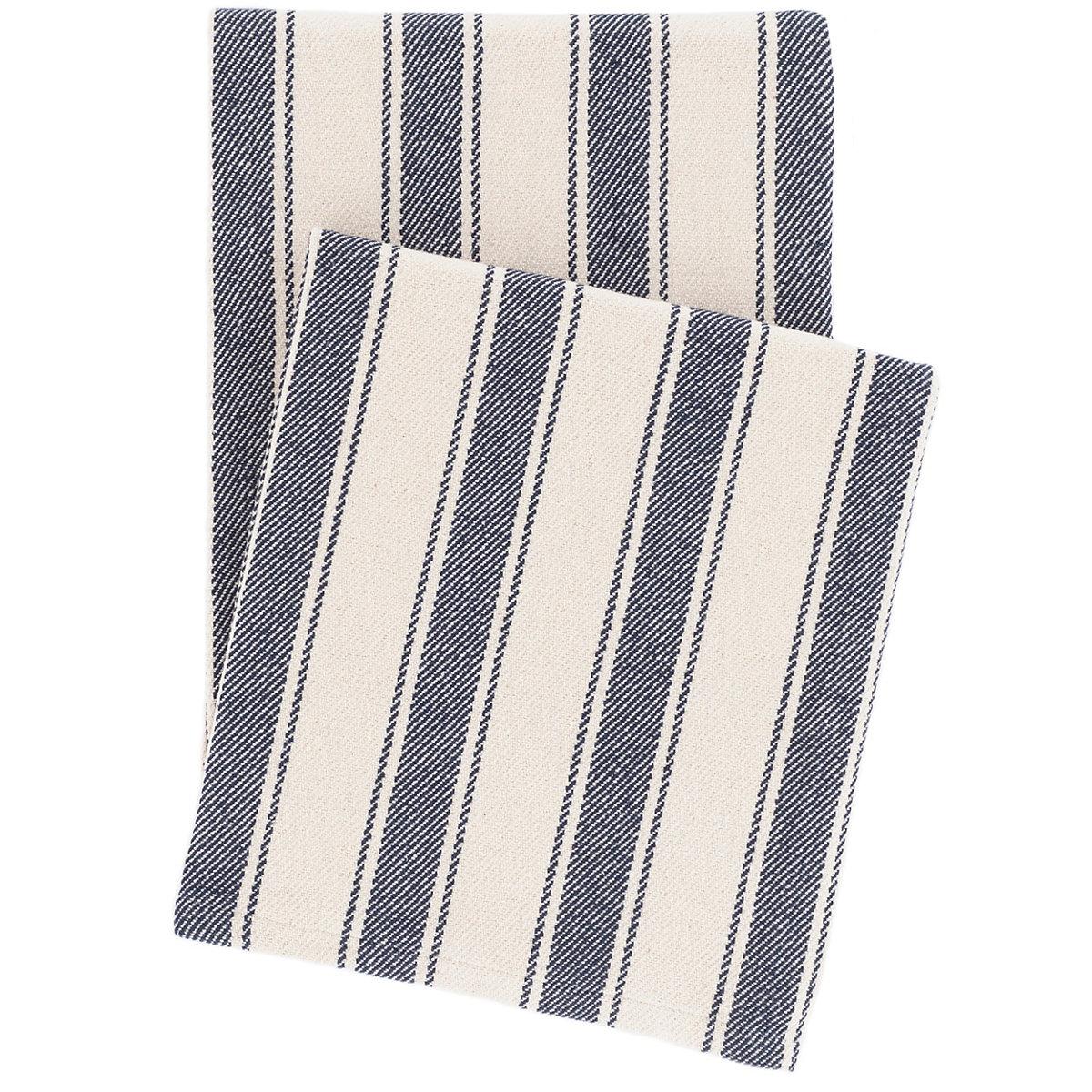 Blue Awning Stripe Woven Cotton Throw Dash Amp Albert