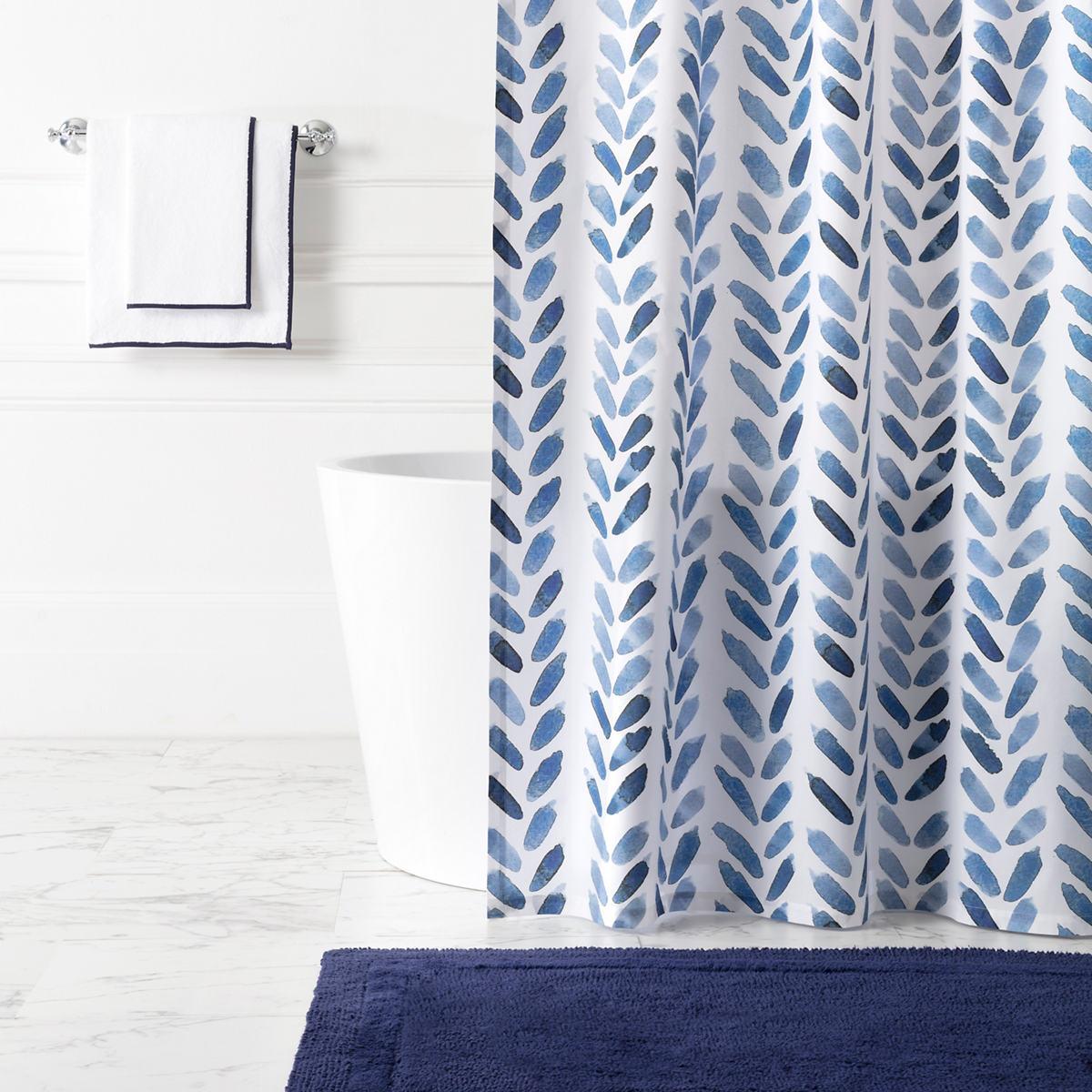 Blue Brush Shower Curtain