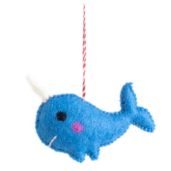 Blue Narwhal Ornament