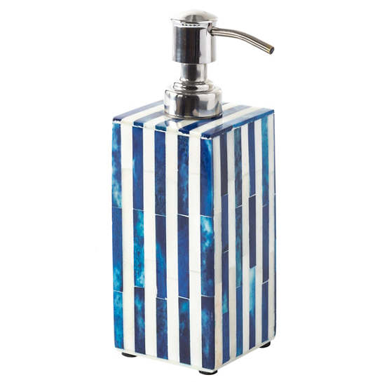 Blue Stripe Bone Inlay Soap Bottle