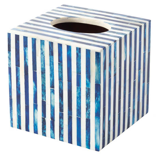 Blue Stripe Bone Inlay Tissue Box