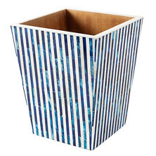 Blue Stripe Bone Inlay Wastebasket