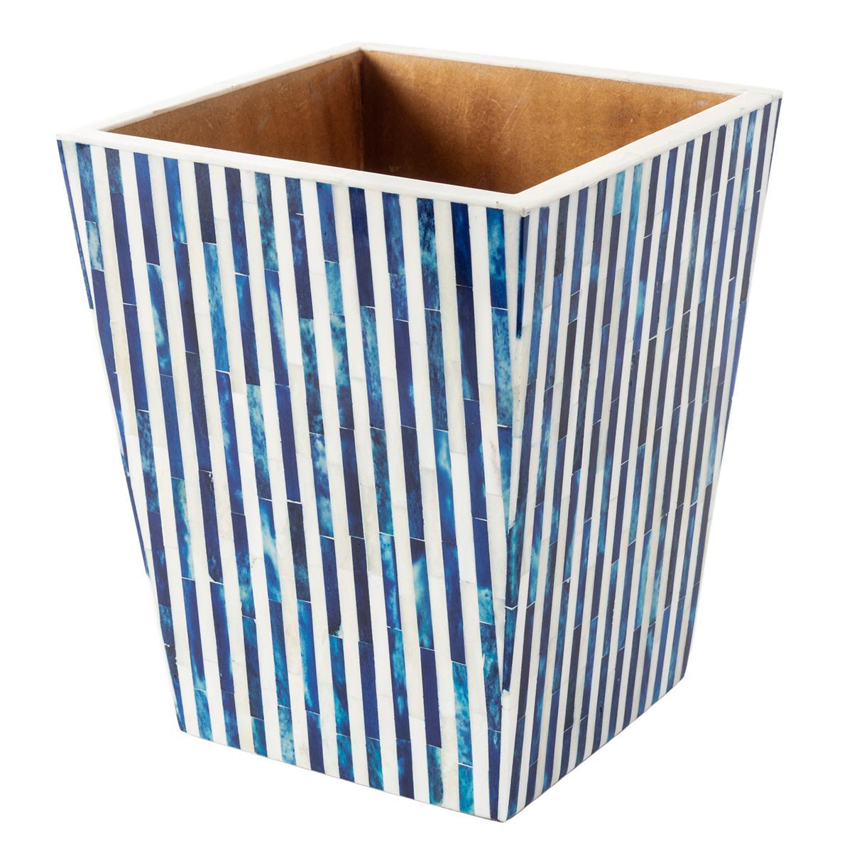 Blue Stripe Bone Inlay Wastebasket