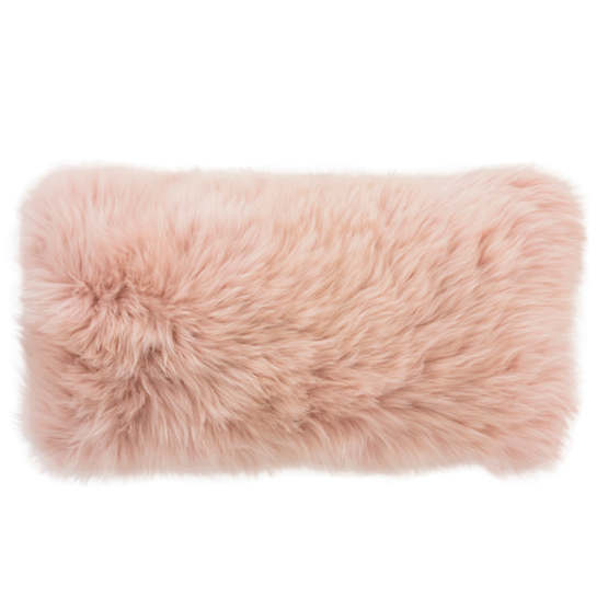 Longwool Combed Sheepskin Blush Decorative Pillow