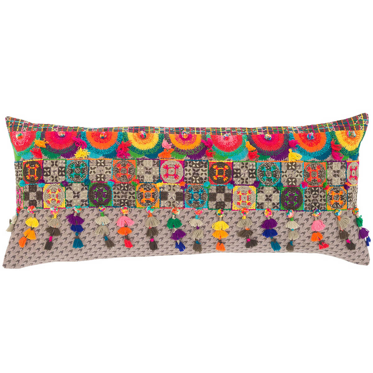 Boho Embroidered Decorative Pillow The Outlet