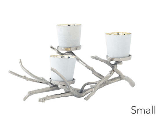 Silver Bow Candle Holder