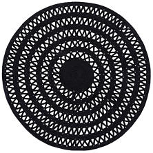 Bowline Black Indoor/Outdoor Round Rug