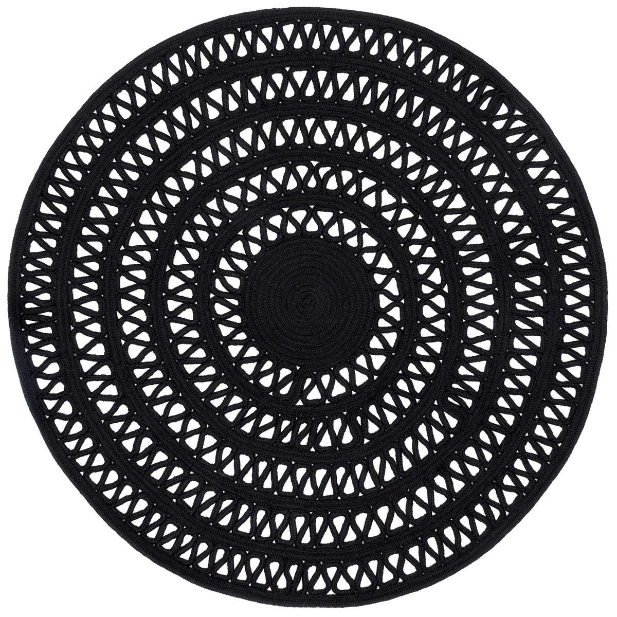 Bowline Black Indoor/Outdoor Round Rug