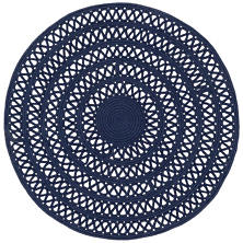 Bowline Navy Indoor/Outdoor Round Rug