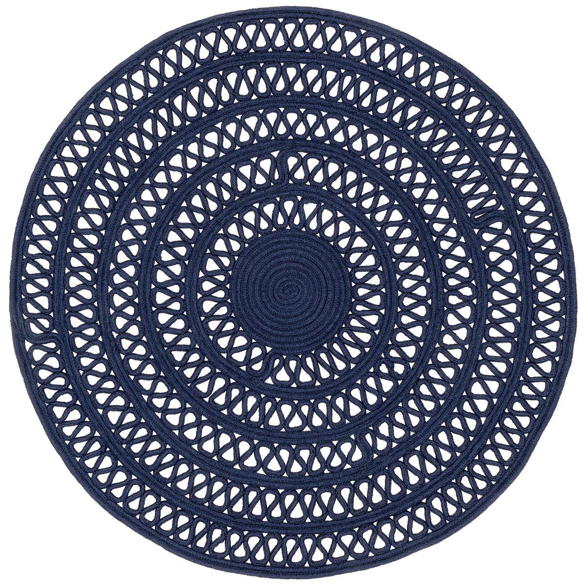 Bowline Navy Indoor/Outdoor Round Rug