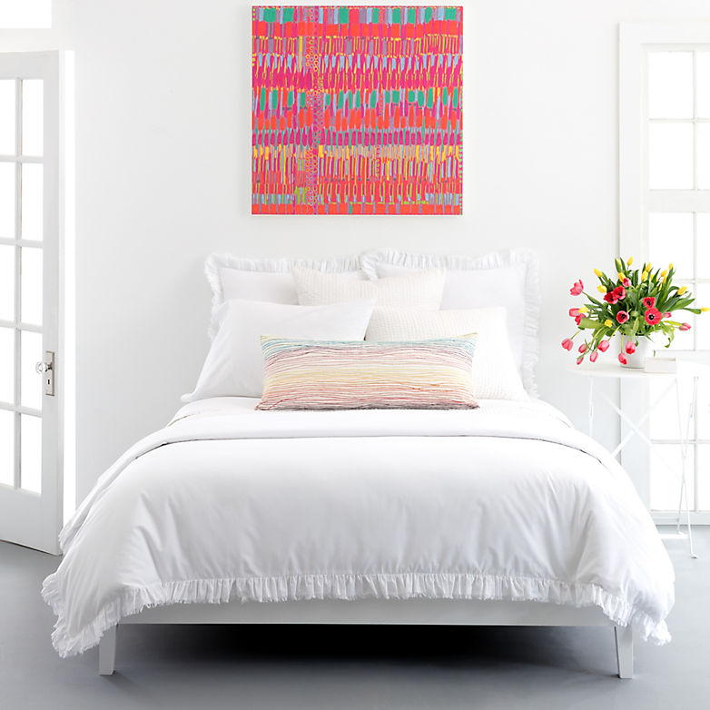 How To Add Pops Of Color An All White Bedroom Annie Selke S Fresh