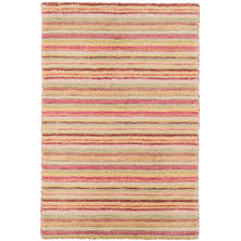 Brindle Stripe Pastel Loom Knotted Wool Rug