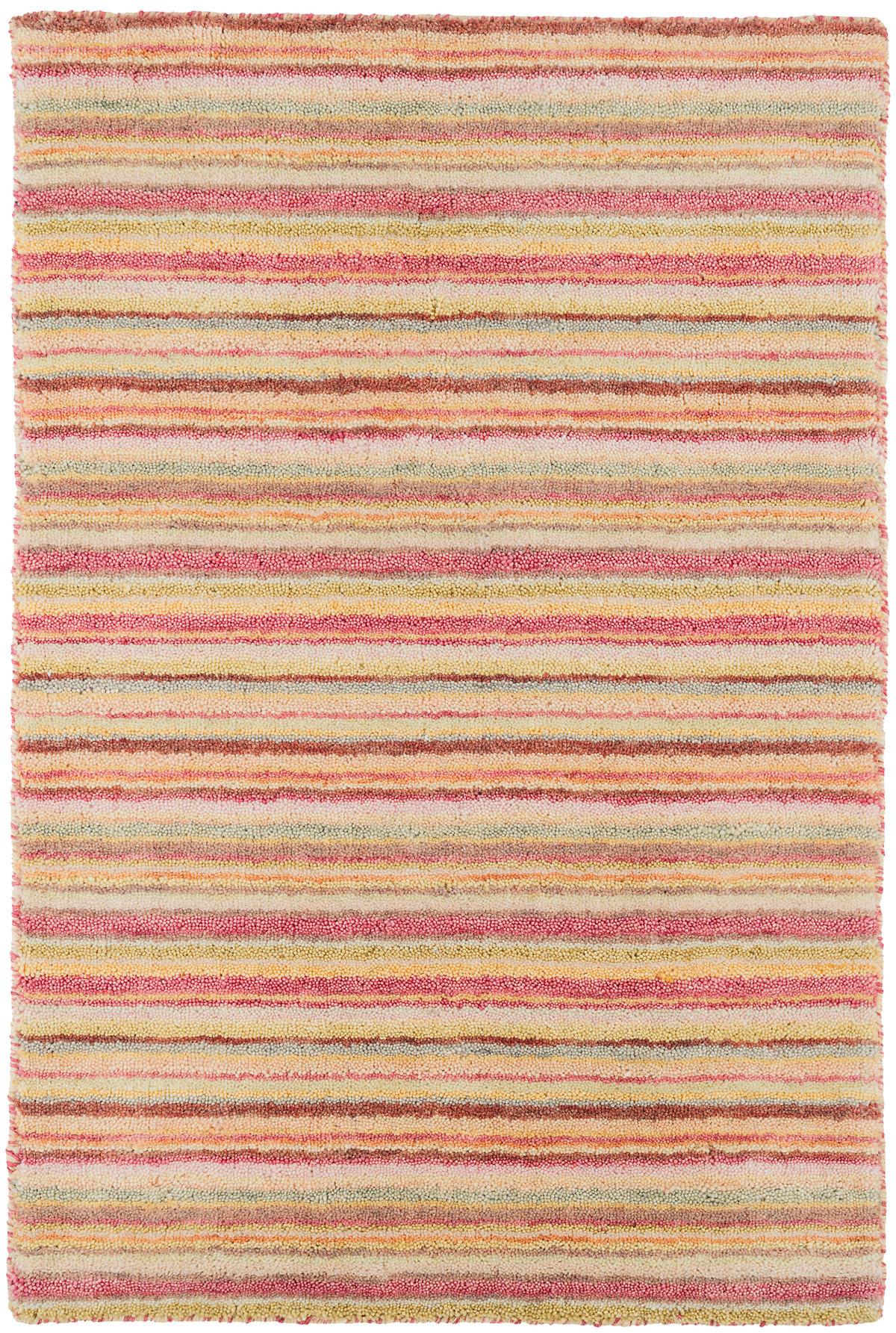 Brindle Stripe Pastel Loom Knotted Wool Rug