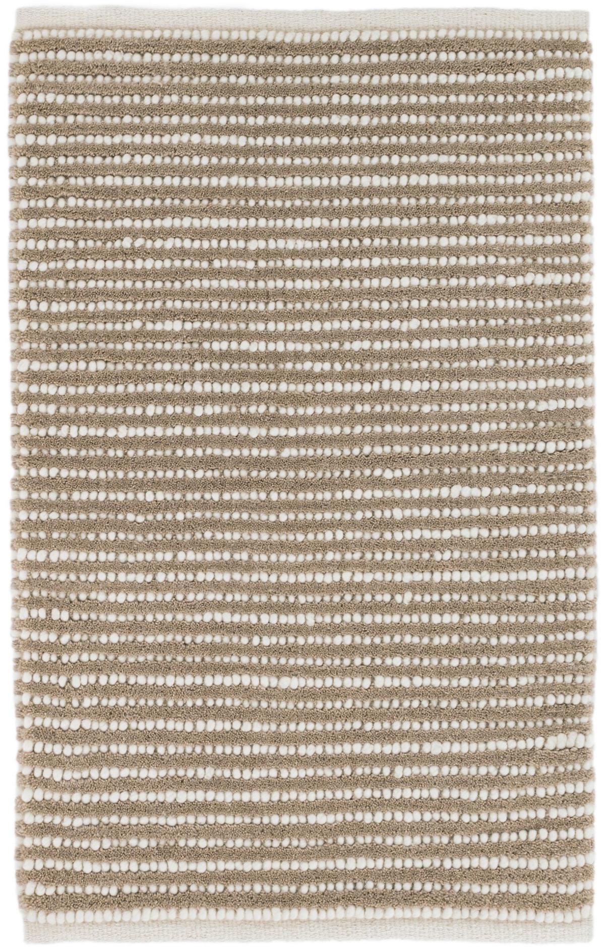 Brushed Stripe Mocha Woven Wool Rug