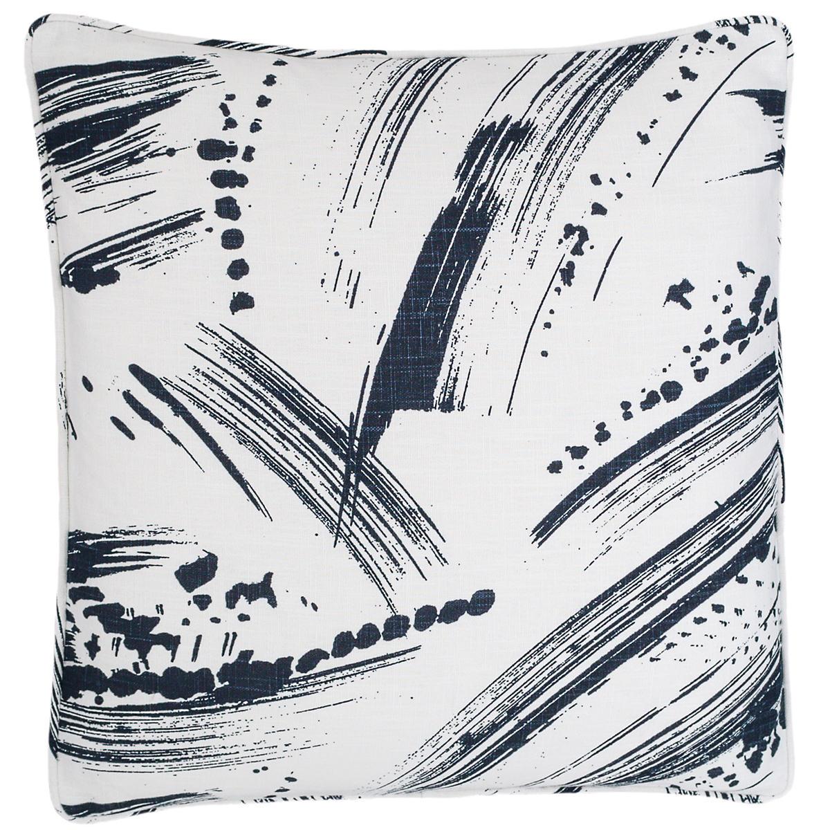 Brushstroke White/Indigo Decorative Pillow