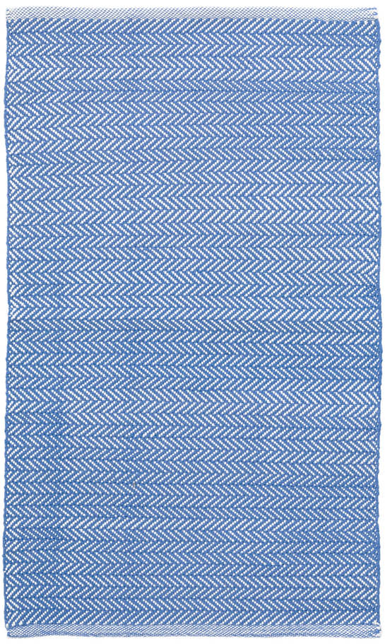 Herringbone French Blue/White Indoor/Outdoor Rug